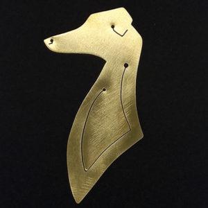 Lesezeichen Greyhound aus Messing