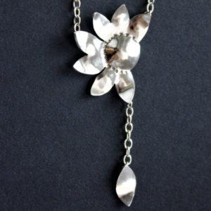 Echt Silberkette Gänseblümchen mit kleinem Blatt