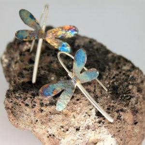 Ohrhänger Libelle aus echtem Silber in bunten Farben